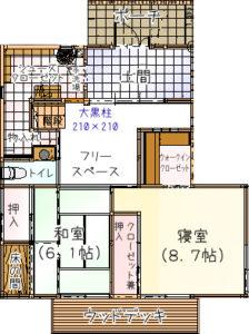 「子育て世代さん北入りプラン例」広島 注文住宅 自然素材